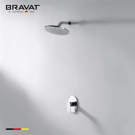 Bravat Contemporary Chrome Rounded Wall Shower Head