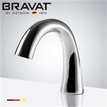 Bravat Commercial Application Automatic Electronic Sensor Shine Chrome Curve Deck Installation Faucet