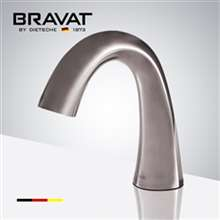 Bravat Brushed Nickel Commercial Application Electronic Automatic Sensor Curve Deck Installation Faucet