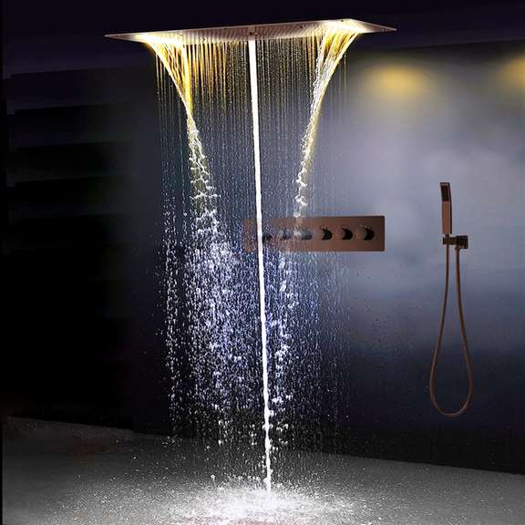 Fontana Showers Amazing Relaxation Wide Ceiling LED Shower Head with Hand-Held Shower