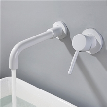 "Fontana Milan Single Lever Wall Mount White 8.27"" (210MM) Sink Faucet"