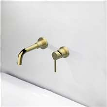 Fontana Milan Single Lever Wall Mount Brushed Gold Sink Faucet