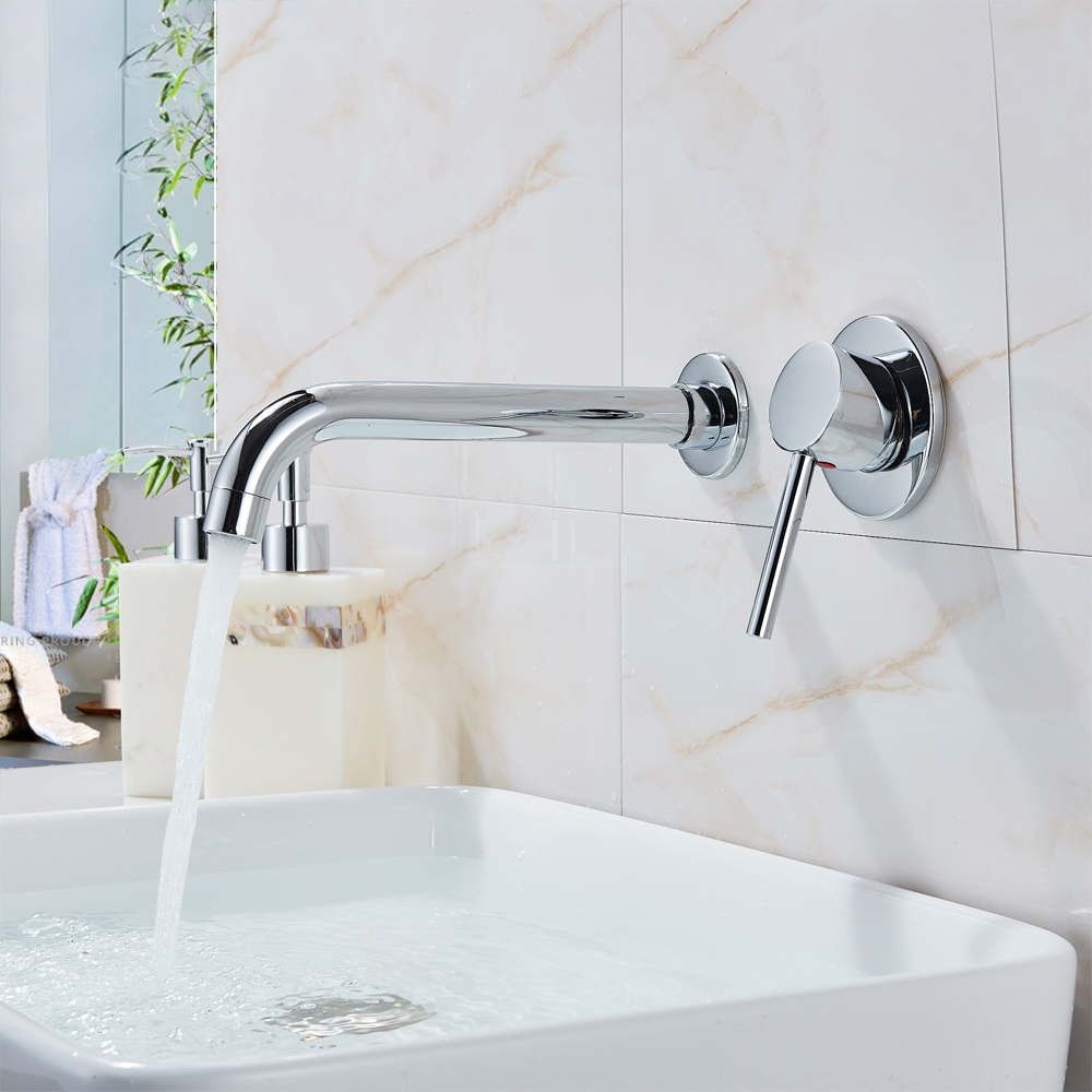 Superb Seattle Single Lever Wall Mounted Chrome 8 27 210Mm Sink Faucet Interior Design Ideas Grebswwsoteloinfo