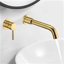 "Fontana Milan Single Lever Wall Mount Shiny Gold 8.27"" (210MM) Sink Faucet"