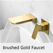 Fontana Napoli Luxury Wall Mount Brushed Gold Waterfall Sink Faucet