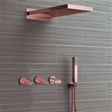 Fontana Reno Wall Mount Rose Gold Rainfall Mixer Shower Set