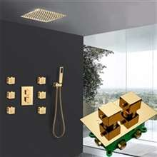 Thermostatic Modern Bathroom Rainfall Shower System with Six Pieces Jet Bath Set