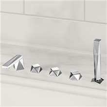 Fontana Bravat Low Arc Spout Design 5 Piece Bathtub Handheld Shower Faucet