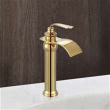Fontana Florence Gold Waterfall Hot and Cold Water Mixer Bathroom Kitchen Sink Faucet