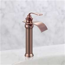 Fontana Florence Rose Gold Waterfall Hot and Cold Water Mixer Bathroom Kitchen Sink Faucet