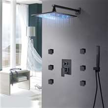 Fontana Greenwich Showers Hot and Cold Rainfall LED Bathroom Shower with Massage Jets
