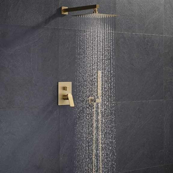 Fontana Brushed Gold Napoli Wall Mount Rainfall Shower Set
