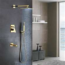 Fontana Lima 16 '' Shiny Gold Finish Water Mixer Wall Shower Faucet Set