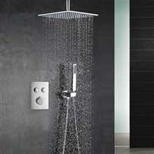 Fontana Chicago Chrome Ceiling Mount Rainfall Shower Head with Handheld Spray and Dual Function Thermostatic Mixer