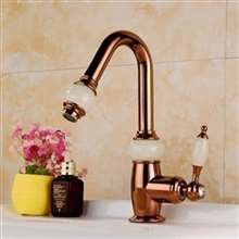 Fontana Rauma Luxury Short Rose Gold Brass Jade Water Body Bathroom Sink Faucet