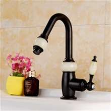 Fontana Genoa Luxury Dark Oil Rubbed Bronze Brass Jade Water Body Bathroom Sink Faucet