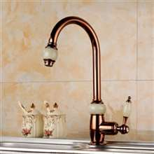 Fontana Genoa Luxury Tall and Rose Gold Brass Jade Bathroom Sink Faucet