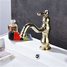 Fontana Dijon Single Hole Shiny Gold Bathroom Sink Faucet