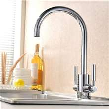 Fontana Lima Double Handle Chrome Kitchen Sink Faucet