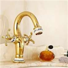 Fontana Peru Double Handle Gold Bathroom Sink  Faucet