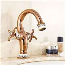 Fontana Peru Double Handle Rose Gold Bathroom Sink Faucet