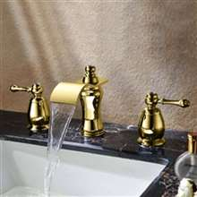 Fontana Napoli Gold Crystal Waterfall Bathroom Sink Bathtub Faucet