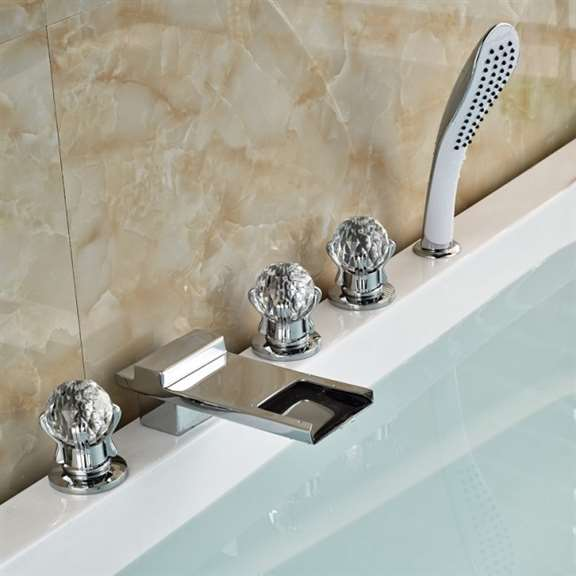 Athenian Crystal Handle Chrome Finish Waterfall Bathtub Faucet with Pullout Handheld Shower