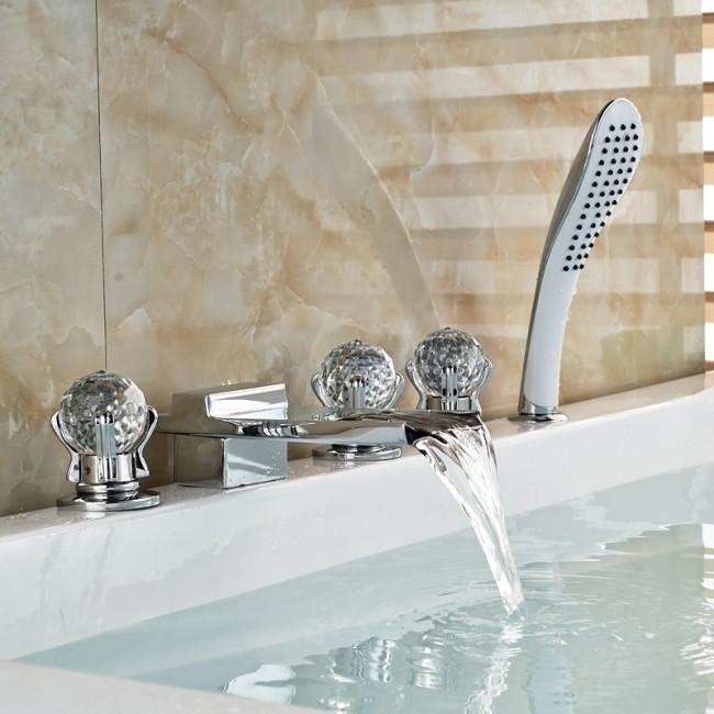 Athenian Crystal Handle Chrome Finish Waterfall Bathtub Faucet