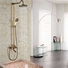 "Fontana Milan 8"" Antique Brass Rainfall Shower Set A"