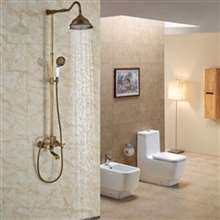 "Fontana Milan 8"" Antique Brass Rainfall Shower Set B"