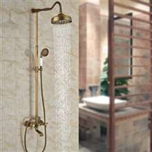 "Fontana Milan 8"" Antique Brass Rainfall Shower Set C"