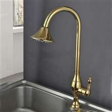 Fontana Milan 100% Solid Brass Gold Finish Kitchen Sink Faucet