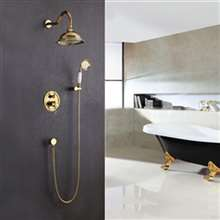 "Napoli 8"" Gold Finish Rain Bath Shower Faucet"