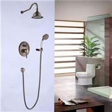 "Fontana Napoli 8"" Antique Brass Finish Rain Bath Shower Set"