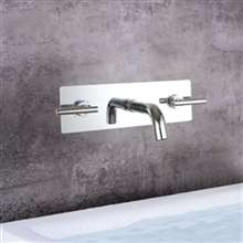 Sierra 3PCS Chrome Wall Mount Bathroom Sink Faucet
