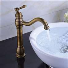 Fontana Milan Single Hole Tall  Antique Brass Bathroom Sink Faucet
