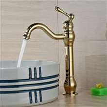 Fontana Milan Single Hole Tall Shiny Gold Bathroom Sink Faucet