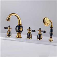 Classic Hot and Cold Deck Mount Bathtub Faucet