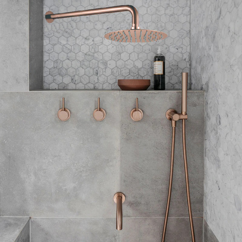 Solid Brass Wall Mount Triple Mixer Bathroom Shower Set