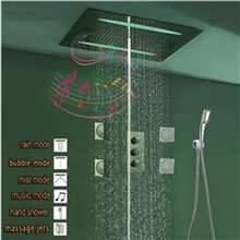 Reno Smart Musical Shower Set LED Ceiling Square Brushed Nickel Shower Set