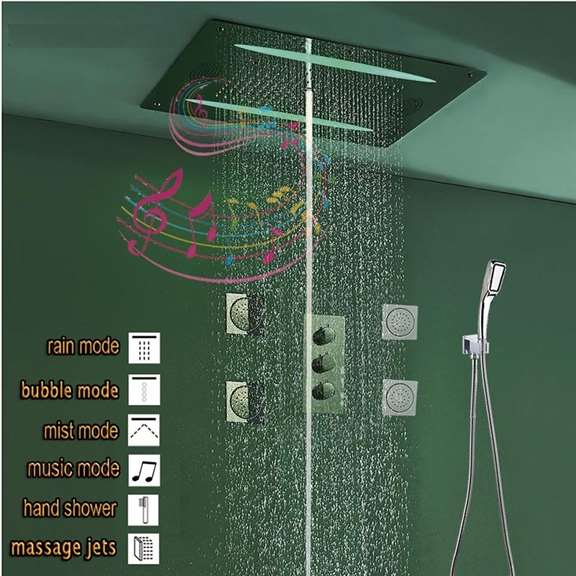 Reno Smart Musical Shower Set LED Ceiling Square mirror finish Shower Set