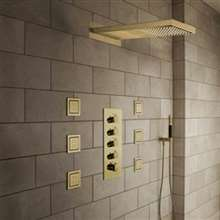 Contemporary Gold Finish Led Shower Head