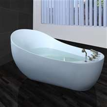Napoli Solid Surface Indoor Soaking White Bathtub