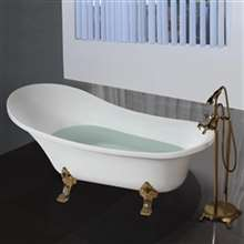 Rio Freestanding Indoor Soaking Acrylic White Bathtub