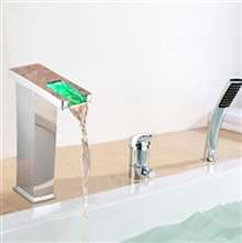 Contemporary LED Chrome Finish Bathroom Waterfall Bath-Tub Faucet Deck Mount with Handheld Shower