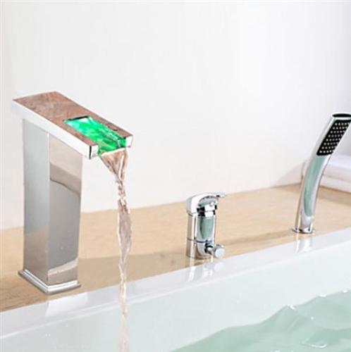 Contemporary Led Chrome Finish Bathroom Waterfall Bath Tub Faucet