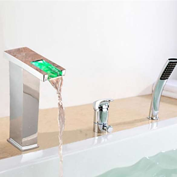 Contemp LED Chrome Waterfall Bathtub Faucet With Handheld Shower