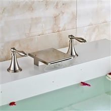 Fontana Long Dual Handle Deck Mount Brushed Nickel Waterfall Bathtub Faucet