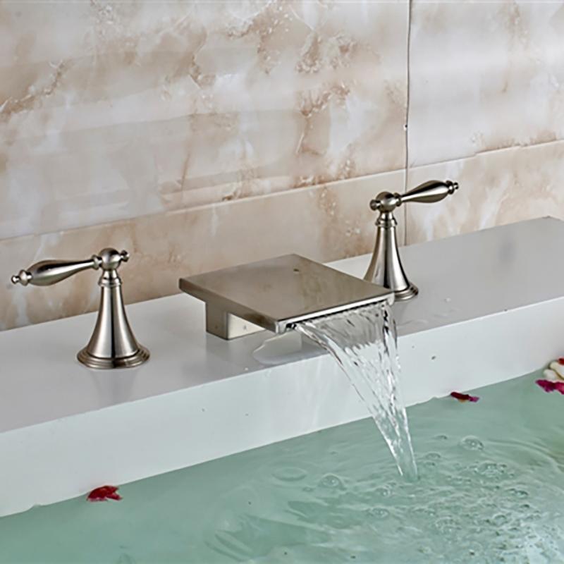 Brushed Long Dual Handle Bathroom Sink Waterfall Faucet