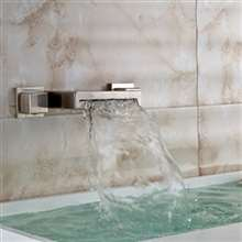 Dual Handle Brushed Finish Wall Mount Waterfall Brass Vessel Bathtub Faucet
